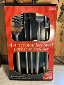 Heavy Duty 4 Piece Stainless Steel BBQ Grilling Barbecue Tool Set (New)