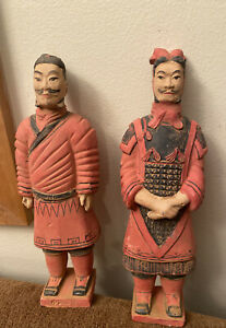 "2 Tall Painted Terra Cotta Warriors 10.5"" Clay Chinese Sculptures Xi'an China $35.00"