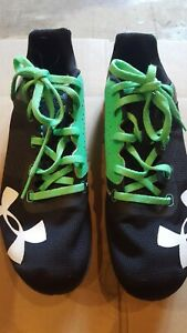 Under Armour Kick Distance Spikes Women's Black with Green Shoes Size 8 $9.00
