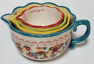 Pioneer Woman Wildflower Whimsy Measuring Bowls 1 Cup, 1/2 Cup, 1/3 Cup, 1/4 Cup