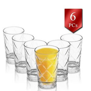 Water Drinking Glass Set of 6, 7oz-205cc  Water and Juice Glasses Tumbler