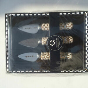 C. Wonder Cheese Knives SET of 3 MOROCCAN GEO Gold MSRP $34.00 RARE