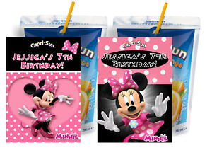 PINK MINNIE MOUSE CUSTOM CAPRI SUN LABELS BIRTHDAY PARTY FAVORS Suns STICKERS 3