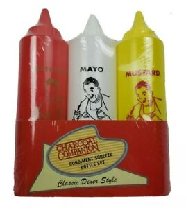 Squeeze Bottle Condiment Set of 3 for Home Use Labeled Ketchup,Mayo