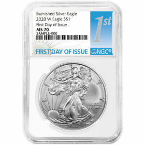 Presale 2020 W Burnished $1 American Silver Eagle NGC MS70 FDI First Label