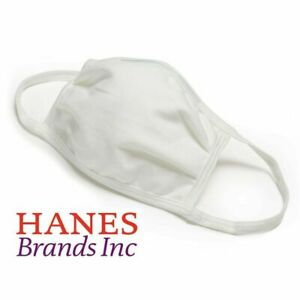 5 Pack - Hanes White 100% Cotton Face Mask Reusable Protective Cover Facemask