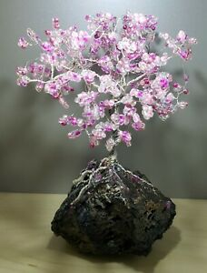 Wire Cherry Tree of Life Sculpture Handmade silver pink crystals real lava rock