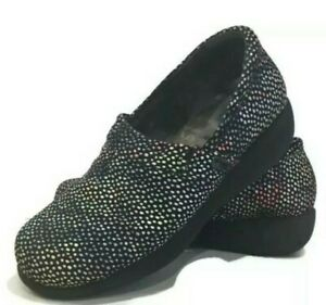 Softwalk grey anatomy nurse work shoes clogs 10M black polka dot slip resistant