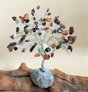 Gemstone Tree Natural Handmade with 100 Gem Stones Wire Wrapped on Rock Base