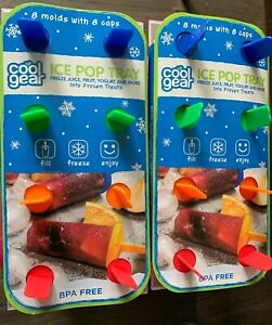 2-Pack Cool Gear 8 Section Mold Round Popsicle Ice Pop Tray Maker Dessert Treats