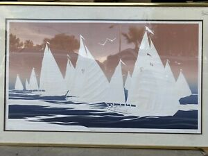 WARREN WOODWARD quot;REGATTAquot; HUGE EMBOSSED LIMITED EDITION LITHOGRAPH SIGNED 1 500 $199.97