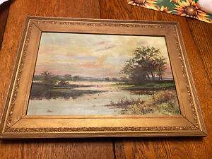 Antique Signed Artist Repo Of Carl Weber's Sunset Oil Painting On Canvas Pinney $269.95