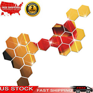 12Pcs Adhesive Hexagonal 3D DIY Acrylic Wall Mirror Stickers For Bedroom P3R0