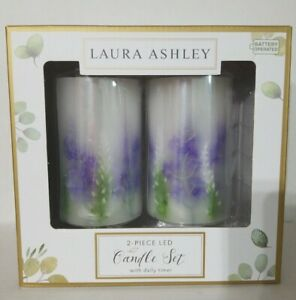 Laura Ashley 2 Piece LED Candle Set Daily Timer Battery Operated Size 3