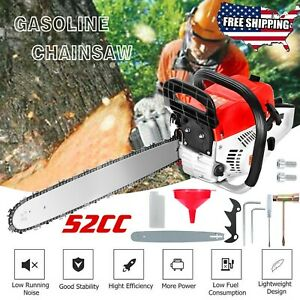 20quot; Bar Gas Powered Chainsaw Chain Saw 52cc Wood Cutting Aluminum Crankcase $81.99