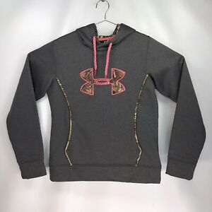 Womens Medium Under Armour Hoodie Semi Fitted Grey Camouflage Pink $24.99