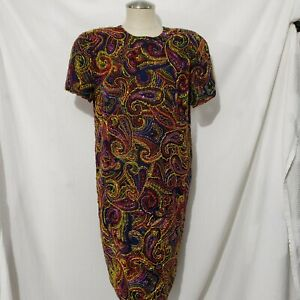 Vtg Rare Bill Blass Designer Evening Silk Fully Beaded Heavy Multicolor Dress 8