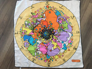 Peter Max Scarf Zodiac Astrology Psychedelic 1960#x27;s 1970#x27;s 100% Silk Vintage $225.00