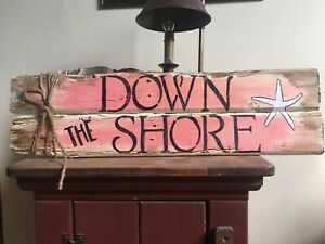 24 X 7 WOOD SIGN quot;DOWN THE SHOREquot; BEACH COASTAL HOME DISTRESSED