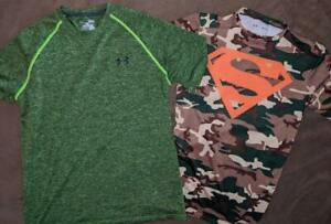 Rare Lot of 2 UNDER ARMOUR Workout Athletic Gym Shirts Mens MEDIUM Camo Superman $20.00