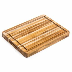TeakHaus by Proteak Edge Grain Cutting/Serving Board w/Hand Grip + Juice Canal (