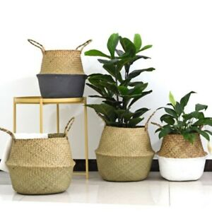 Seagrass Belly Basket Dipped Storage Holder Plant Pot Bag Home Decor US
