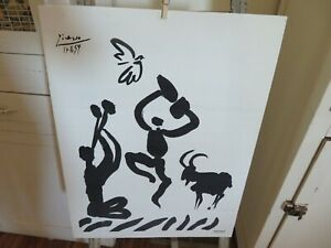 Vintage PICASSO Picasso Lambert Studios Lithograph on Canvas Paper AMAZING $149.99
