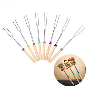 Stainless Steel Camping New BBQ Forks Skewers Roasting Sticks Telescoping
