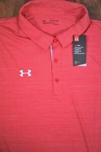NWT Under Armour Performance Elevated Polo Shirt Red White Men's 5XL $0.99