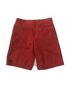 Under Armour Boy's Sz YLG Match Play Golf Casual Shorts Bright Red $9.95