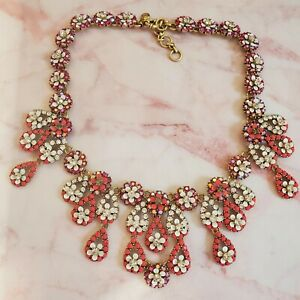 EUC J.Crew Necklace Statement Red Pink Floral Crystal Rhinestone Chandelier