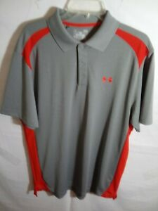 Under Armour Mens Large Gray Orange Golf Polo Loose Heat Gear shirt $18.99