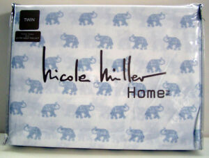 Nicole Miller Home 3Pc Twin Sheet Set- Lucky Elephants - White Blue - New in Pkg