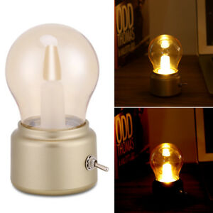 Retro LED Night Light USB Rechargeable Bedside Desk Bulb Lamp Xmas Gift