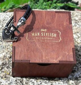 Genuine Leather Bracelet For Men Black Color Anchor Skeleton Jewelry 21CM BOX