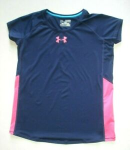 Under Armour Youth XL YXL Fitted Short Sleeve Shirt Purple Pink Stretch Girls $6.99