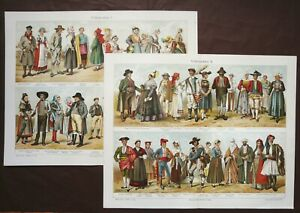 1897 Set of 2 Antique Lithographs of ANCIENT FOLK COSTUMES. ETHNOGRAPHY. $16.00