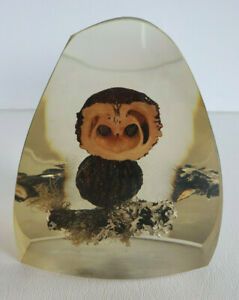 OOAK Vtg 70s LUCITE RESIN OWL SCULPTURE PAPERWEIGHT Moss Nuts Twigs Nature $13.99