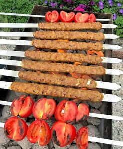Shish Kebob Flat Skewer for BBQ, Flat Wooden Handle Barbeque Grill Sticks Scewer