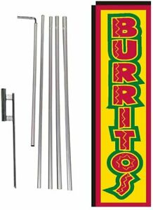 Burritos Mexican Food Rectangle Feather Banner Flag with Pole Kit and Ground...