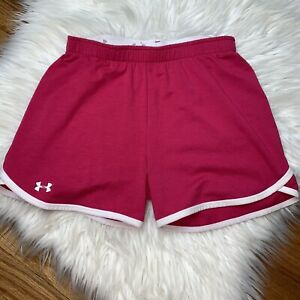 Under Armour Girls Youth Medium Hot Pink & White Cotton Athletic Shorts $10.95