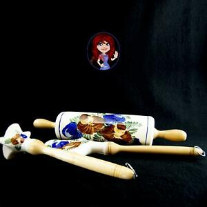 CERAMIC 3-pc ROLLING PIN, SPATULA & MASHER Hand Painted Floral Design NICE COND!