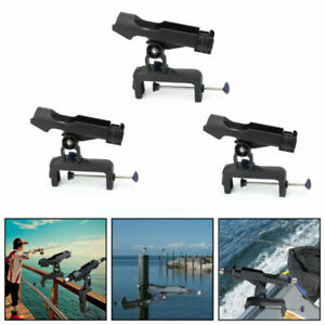 Adjustable Boat Fishing Pole Rod Holder Clamp-on Rail 4.7inches Fits Kayak B5