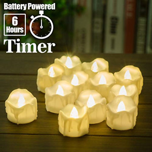 12 Pcs Luminara Style Moving Wick Led Flameless Tea Candles With Timer New