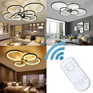 Acrylic Modern LED Chandelier Light For Living Room Bedroom Ceiling Lamp Remote $79.80