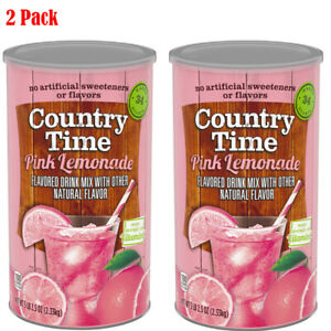 Country Time Pink Lemonade Mix 82.5 oz. Cannister makes 34 qts. 2 Pack