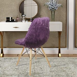 Purple Armless Plush Fuax Fur Vanity Chair with Wooden Legs Makeup Side Chairs