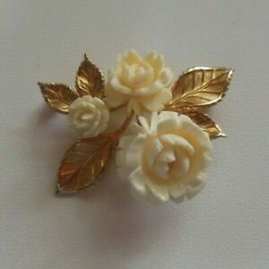 Vintage Signed VAN DELL 12K GF Roses Flower Brooch $65.00