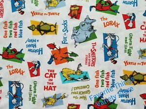 DR SEUSS CAT IN THE HAT white new cotton fabric. 43quot;W x 9quot;L Crafts masks rare