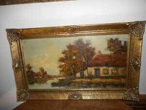 Large antique oil painting{ Landscape - farmer - chickens - boat is signed }. $210.00